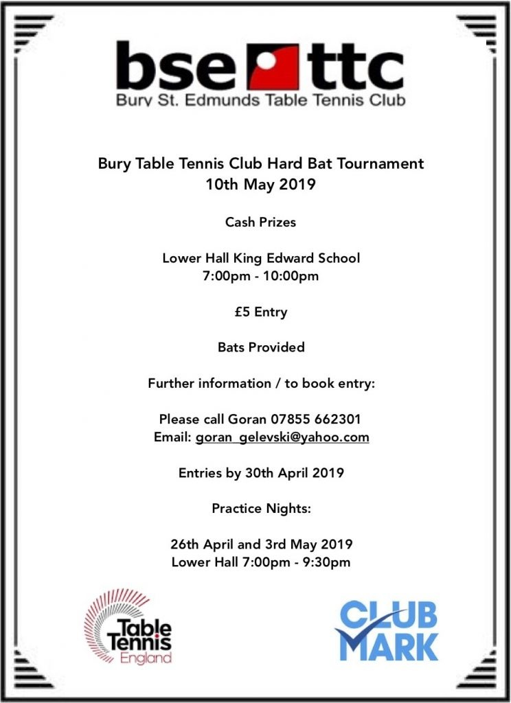 Bury TT hard bat tournament 2019 flyer