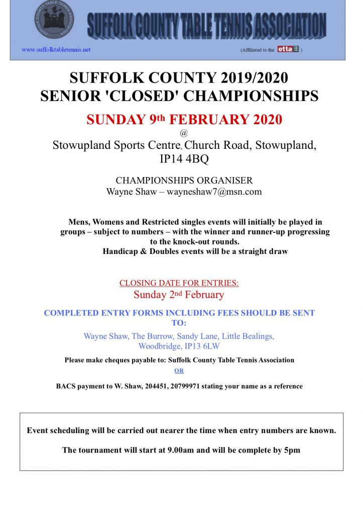 Suffolk Senior Championships flyer 2019-20